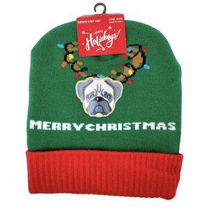 Merry Christmas Pug Dog Green Red Knit Beanie Hat